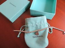 AUT. TIFFANY & CO RETURN to Tiffany STERLING ROUND TAG PENDANT BEAD BRACELET