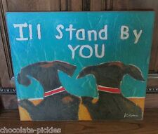 BLACK LAB DOG Friends PICTURE*Primitive/French Country Decor*Wood Wall Art Sign