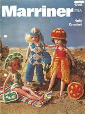VINTAGE CROCHET PATTERN 11 INCH DOLL'S BEACH OUTFITS, WILL FIT SINDY BARBIE ETC