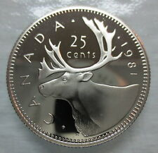1981 CANADA 25 CENTS PROOF QUARTER COIN