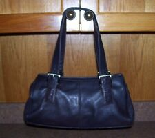 Pre-Owned  PRESTON & YORK  Dark Brown Pebble Texture Leather Purse Zippered Top