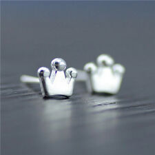 925 Sterling Silver Plated Brushed Crown Stud Earrings Gift