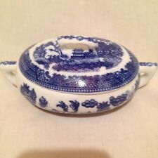 """BLUE WILLOW MINIATURE CHILD""""S OVAL TUREEN WITH LID"""