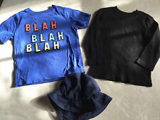 3 pc BOYS LOT baby gap BLAH SHIRT sun hat visor L/S BLACK SHIRT THERMAL size 3T
