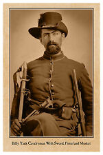 CIVIL WAR VINTAGE PHOTOGRAPH Billy Yank Cavalry Sword PIstol Musket CARD CDV