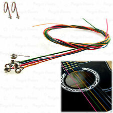 2 SET of 6  Rainbow Multi Color  Acoustic Guitar strings stainless steel alloy