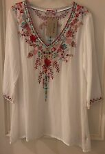 JOHNNY WAS SUNDANCE SWAN EMBROIDERED TUNIC TOP BLOUSE WHITE SZ XS NWT $208