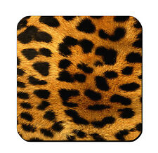 DRINK COASTERS - Leopard Spots Print - Set of 4 - glossy wood bar kitchen Cat