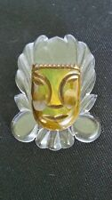 VINTAGE 1940's TESTED!! Aztec FACE Carved GREEN Brown BAKELITE Brooch PIN Lucite