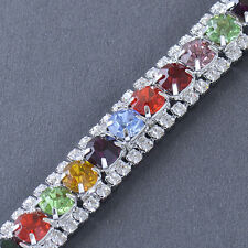 Silver Plated Crystal Multi Colour Tennis Bracelet For Womens Fashion