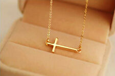 Hot Horizontal Sideways Cross 14k Gold Plated Necklace Do not fade