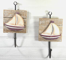 Sailboat Wall Hooks Distressed Wood Red & White  Set of Two Nautical Decor