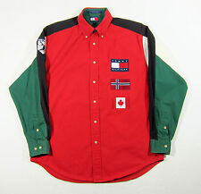 90S VTG TOMMY HILFIGER ALPINE SKI BUTTON UP SHIRT FLAG LOTUS OUTDOORS SPORT M
