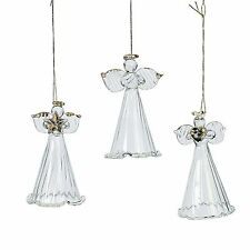 12 Spun Glass Angel Christmas Tree Ornaments Clear