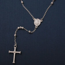 Sterling Silver Rhodium Plated 3mm Diamond Cut Beads Rosary Necklace