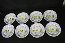 """8pc Nikko by Deb Mores REMEMBER WHEN #9802 Fishing 11"""" Dinner Plates, Japan 1999"""
