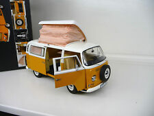 VW Volkswagen T2 Camper Bus Campingbus yellow / white Schuco 1:18 FREE SHIPPING