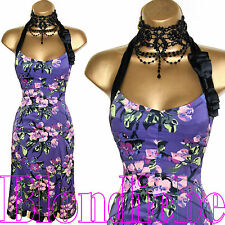KAREN MILLEN Exquisite PURPLE Floral HALTER Cocktail  DRESS UK 12