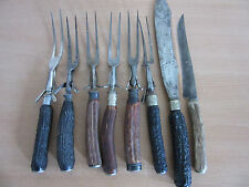 8pc Lot vintage/ Antique Stag antler handle carving set Knives & forks