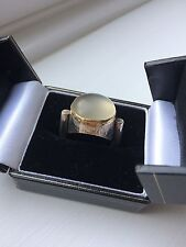 Vintage modernist silver and gold ring with moonstone by O. W. Jacobsen, Denmark