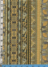Fabric Kaufman VALLEY OF The  KINGS EGYPTIAN  STRIPE LOTUS Pewter BTHY