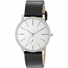 New Skagen Denmark Mens 'Hagen' Thin Slim Watch, Silver Dial, Black Leather Band