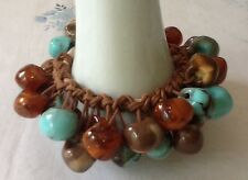 Lucite Beaded Charm Bracelet Marbled Turquoise Brown Orange Beads Stretch Bangle