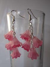 Long Drop / Dangle Earrings - Fuschia / Flower Cluster - Pale Pink / Hot Pink
