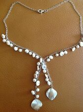"925 STERLING SILVER 16""+ 3"" FRESHWATER PEARLS/BIWA Pearls NECKLACE"