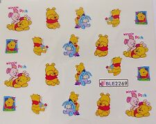 Nail Art Pooh Piglet Eeyore Bow Honey Flower Girl Nail Water Decal Sticker 2269