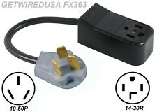NEW 4-PRONG 14-30R DRYER RECEPTACLE to OLD 3-PIN 10-50P STOVE PLUG CORD ADAPTER