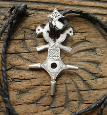 Niger silver Tuareg cross small hand engraved pendant with leather tie