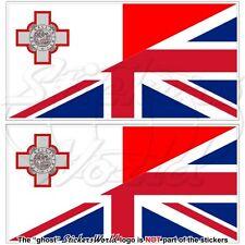 MALTA-GB Bandiera Maltese-Grande Bretagna Bretagnese Adesivi 75mm Stickers x2