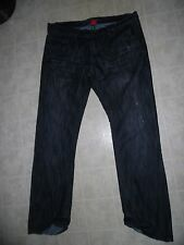 Request Jeans Men's Relaxed Fit Black & Blue Studded Leather Trim 40 x 36