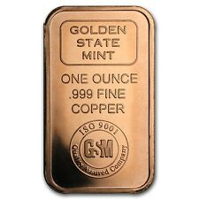 NEW GSM MINT SHINY 1oz. PURE COPPER 999 BULLION BAR