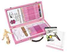 PINK ART SKETCHING & DRAWING SET STORAGE BOX PAD PENCILS MANNEQUIN GUIDE BOOK