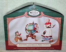 Hallmark Keepsake Lettera, Globus, & Mrs. Claus Ornament Set 2001