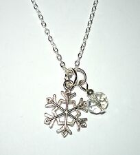 LET IT SNOW - Pretty silvery snowflake and crystal bead drop necklace
