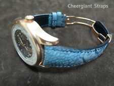 GIRARD PERREGAUX curved lug end padded ostrich strap Cheergiant hand made straps
