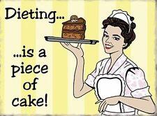 Hacer Dieta es a pieza de pastel! Peso Vintage Retro Novedad Imán Nevera