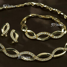 18K YELLOW GOLD GF SWAROVSKI CRYSTAL BRACELET NECKLACE EARRINGS SET