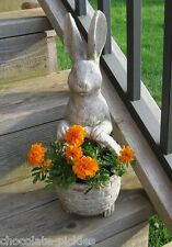 Bunny Rabbit STATUE w/BASKET*For Plant/Flower Pot*Primitive/French Country Decor