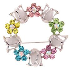Fashion Jewelry Silver Plated Round Flower Shape Colorful Rhinestone Brooch Pin