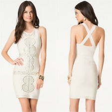 BEBE BEIGE FRONT EMBELLISHED STUD BANDAGE DRESS NWT NEW $139 SMALL S