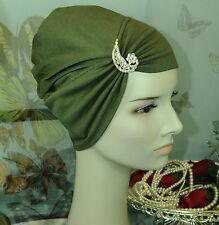CottonLycra Under Scarf Shawl Hijab Chemo Cap Bonnet Hairloss Olive Green Brooch
