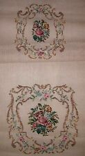 EP 10577 Vintage Bucilla Floral Chair Back & Seat Set Tramme Needlepoint Canvas