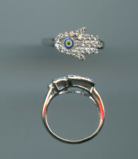 925 STERLING SILVER, ENAMEL & CZ HAMSA & EVIL EYE RIGHT HAND RING SIZE 6