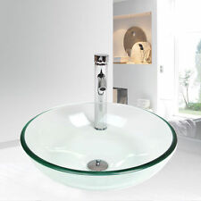 Bathroom Sink Bowl Vessel Stainless Drain Faucet Vanity Basin Glass Combo Pop Up