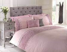 New Design Limogues embroidered Pink Single Duvet Quilt Cover Set bedding
