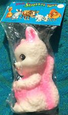 Pink Squirrel Rubbing his Tummy Vintage Hong Kong Squeaky Squeeze Toy